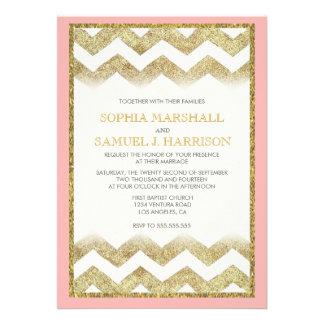 Invitación del boda del brillo del oro de Chevron