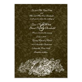 Invitación del boda del brocado de Brown de los