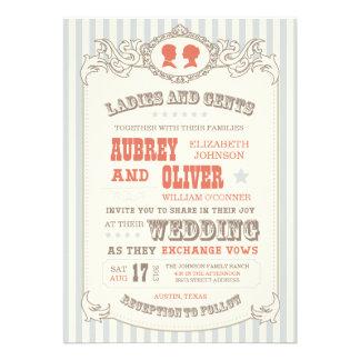 Invitación del boda del carnaval del vintage