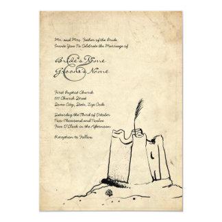 Invitación del boda del castillo de la arena del