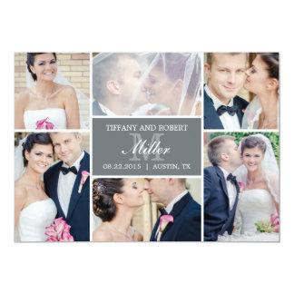 Invitación del boda del collage del monograma -