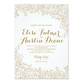 Invitación del boda del confeti del oro