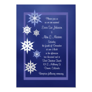 Invitación del boda del copo de nieve del invierno