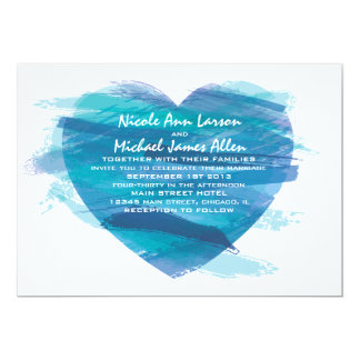 Invitación del boda del corazón de la acuarela en