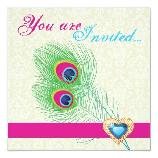 Invitación del boda del corazón de la joya de la