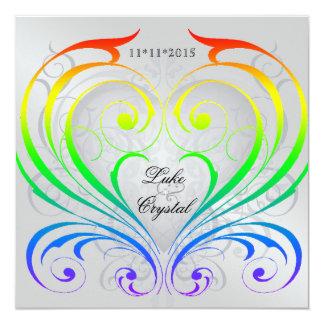 Invitación del boda del corazón del arco iris del invitación 13,3 cm x 13,3cm