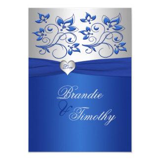 Invitación del boda del corazón del azul real y de