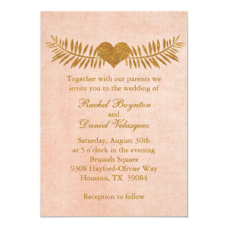 Invitación del boda del corazón del coral y del