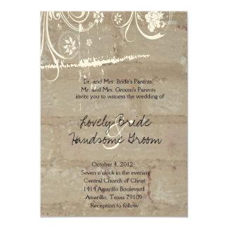 Invitación del boda del cordón del ladrillo del invitación 12,7 x 17,8 cm