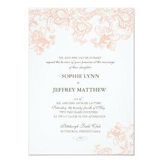 Invitación del boda del cordón del vintage invitación 12,7 x 17,8 cm