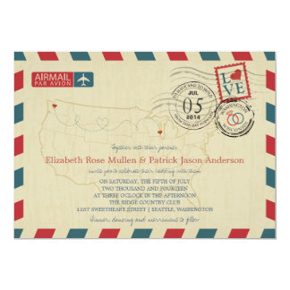 Invitación del boda del correo aéreo del mapa de