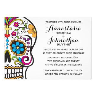 Invitación del boda del cráneo del azúcar