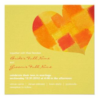 Invitación del boda del cuadrado del confeti del v