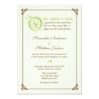 Invitación del boda del cuento de hadas del guión invitación 12,7 x 17,8 cm