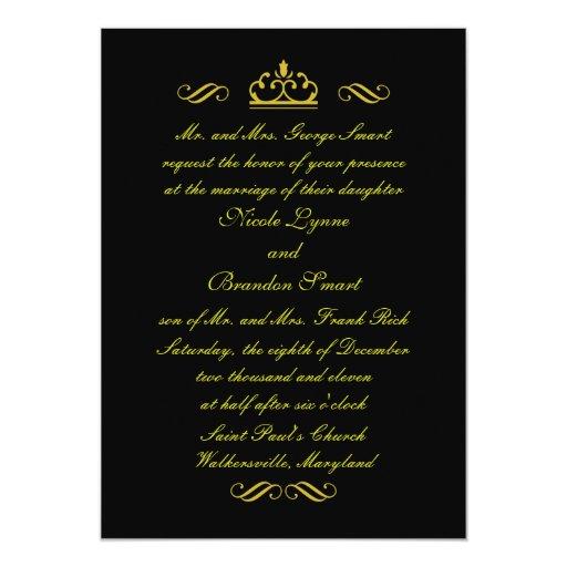 Invitación del boda del cuento de hadas del oro