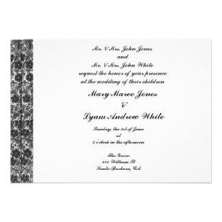 Invitación del boda del damasco