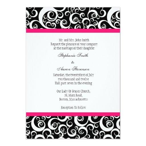 Invitación del boda del damasco con rosas fuertes