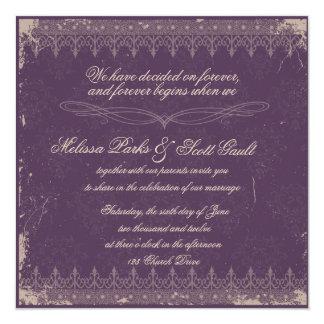 Invitación del boda del damasco de la berenjena de