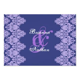 Invitación del boda del damasco de la púrpura real invitación 12,7 x 17,8 cm