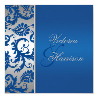 Invitación del boda del damasco del azul de la