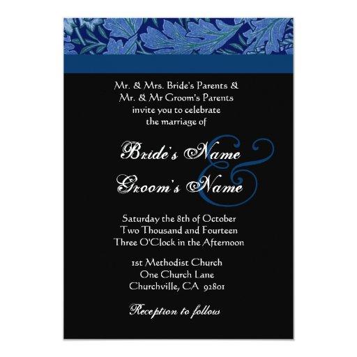 Invitación del boda del damasco del brocado del