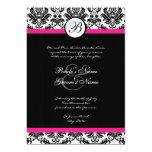 Invitación del boda del damasco del negro y de las invitación 12,7 x 17,8 cm