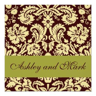 Invitación del boda del damasco del pistacho del