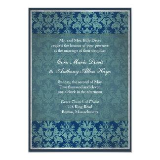 Invitación del boda del damasco del vintage de la