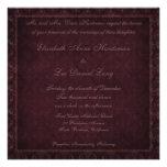 Invitación del boda del damasco del vintage del ci