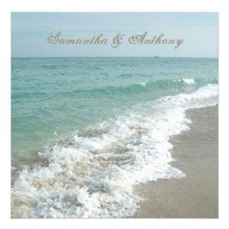 Invitación del boda del destino de la playa cuadr