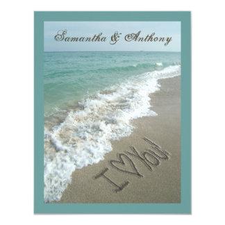 Invitación del boda del destino de la playa de la