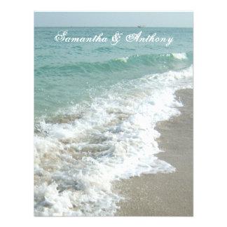 Invitación del boda del destino de la playa resac