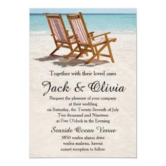 Invitación del boda del destino de las sillas de
