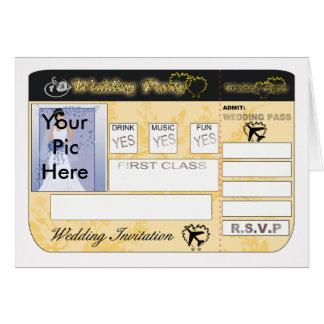 Invitación del boda del documento de embarque a tarjetas