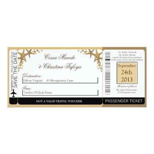 Invitación del boda del documento de embarque de