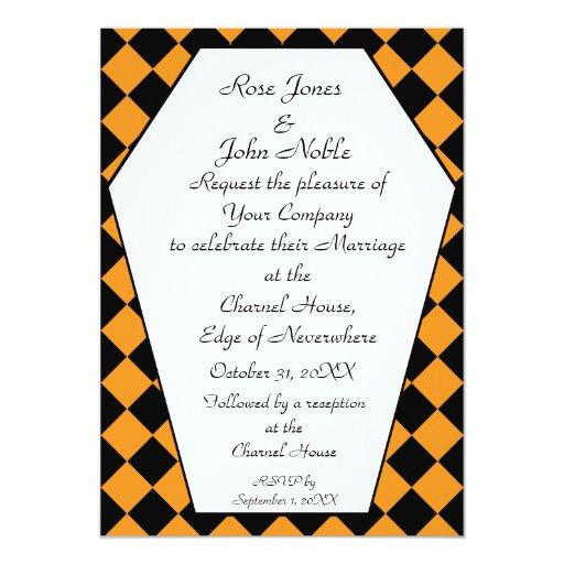 Invitación del boda del ébano de Damier (naranja)