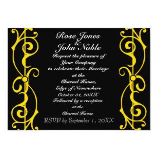 Invitación del boda del ébano de la fibrilla (oro)