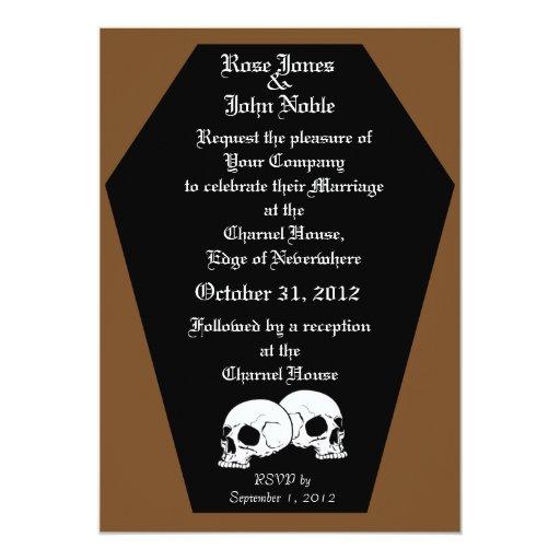 Invitación del boda del ébano del ataúd (Brown)