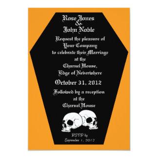Invitación del boda del ébano del ataúd (naranja)