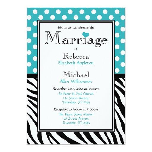 Invitación del boda del estampado de zebra de la