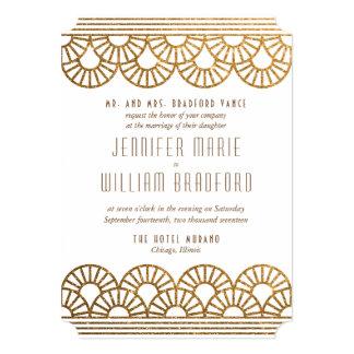 Invitación del boda del fan del art déco del oro
