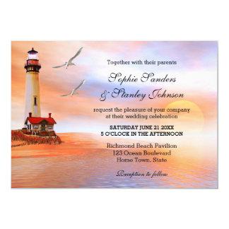 Invitación del boda del faro de la playa