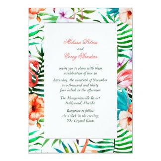 Invitación del boda del flamenco de la acuarela