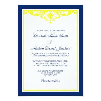 Invitación del boda del Flourish de los azules