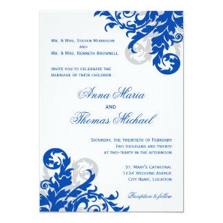 Invitación del boda del Flourish del azul real y