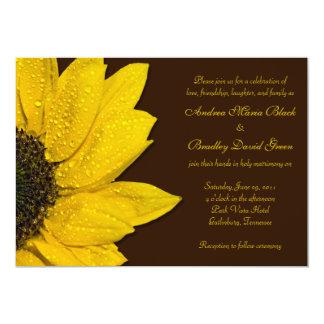 Invitación del boda del girasol - Brown y amarillo Invitación 12,7 X 17,8 Cm
