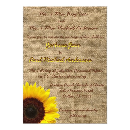 Invitación del boda del girasol de la arpillera invitación 12,7 x 17,8 cm