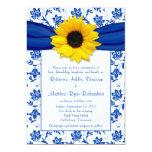 Invitación del boda del girasol del damasco del