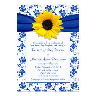 Invitación del boda del girasol del damasco del az