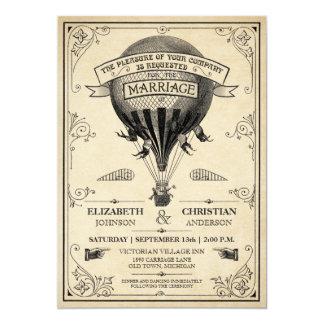 Invitación del boda del globo del aire caliente
